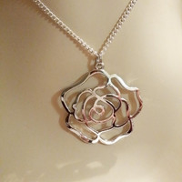Silver Rose Necklace / Valentine Gift / Silver Tone Rose Jewelry / Flower Jewelry / Metal Rose Necklace /  Rose Pendant Necklace