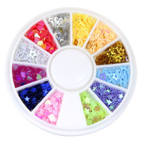 New Arrival 12 Colors Mix Star Heart Design Slices Wheel Nail Art DIY Craft 3D Nail Art Decoration DIY Nail Wheel WY172