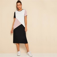 Casual Multicolor Cut-and-Sew Tunic Long Dress Women O-Neck Short Sleeve Shift Straight Color-block Dresses