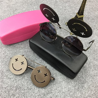 Fliped Simle Pattern Round Sunglasses