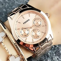 FOSSIL Women Men Fashion New Dial Letter Numeral Leisure Watch Wristwatch