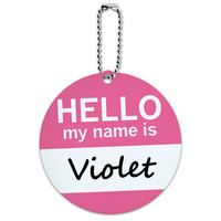 Violet Hello My Name Is Round ID Card Luggage Tag
