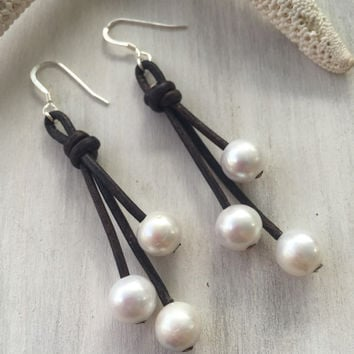 Leather freshwater pearl earrings, leather and pearls, pearl earring