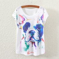White Short Sleeve Crying Dog Print Top