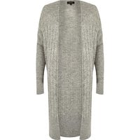 River Island Womens Grey long ribbed cardigan