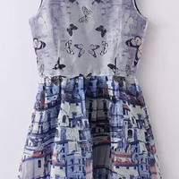 Blue Castle and Butterfly Skater Dress