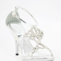 """Wedding Shoes Silver with 3.5"""" heels and 1/2"""" platform (Style 800-40)"""