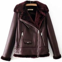 Farreh Faux Fur Leatherette Coat