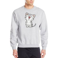2018 New Mens Funny Cat Print Hoodies Fashion Drawstring Front Pockets Hooded Pullover Hoody Sweatshirts Casual Lovers Clothing