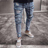 Men Jeans Slim Biker Runway Denim Jeans Skinny Stretch Frayed Pants Distressed Rip Trousers Fashion Streetwear Jeans For Men
