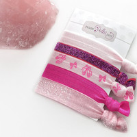 Ballet Hair Ties, Dance Hair Accessories, Ponytail Holders Ballet Slippers, Pink Hairties, Stocking Stuffers for Kids, For Girls, Set of 5