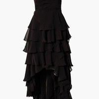 Black Strapless Tiered Long Back Dress