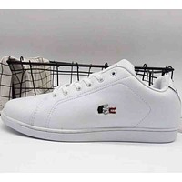 Lacoste 2018 men's and women's fashion brand casual sports shoes F-A36H-MY White