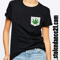 Cannabis Weed Marijuana Real Pocket Tee Crew Neck Top T shirt code50613