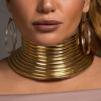 """15.50"""" - 18"""" gold adjustable choker collar faux leather Necklace 2.25"""" wide"""
