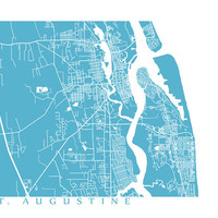 St Augustine Map - Florida Poster