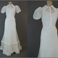 1930s Sheer White Organdy Floral Gown, fits 34 inch bust, Vintage Dress with Slip, Ruffles and Puffed Sleeves