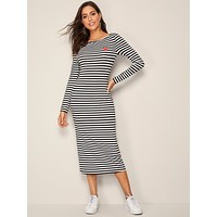 SHEIN Heart Print Striped Pencil Dress