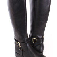 Black Ankle Buckle Strap Riding Boots Faux