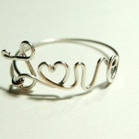 love ring - heart love wire ring- sterling silver wire