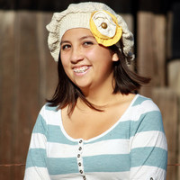 Vegan Cotton Upcycled Hat With Shabby Flower