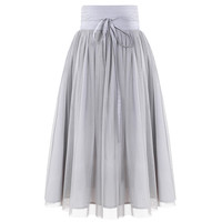 Mesh Layered A-Line Skater Midi Skirt