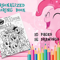 Personalized My Little Pony Coloring Book Digital Printable A5 10 pages 16 drawings for Children Birthday Favors