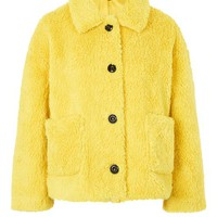 Cropped Button Borg Coat - New In Fashion - New In