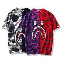 Bape Aape New fashion bust shark print couple camouflage contrast color splice top t-shirt