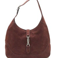 DCCK7H8 Gucci New Jackie Suede Hobo Shoulder Bag 277520, Red