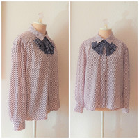 Womens 80s Pink Blue Ascot Bow Tie Button Up Career Dress Blouse Petites Large