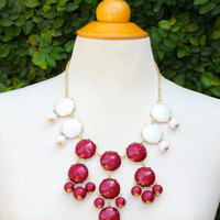 Bubble Necklace Maroon & White