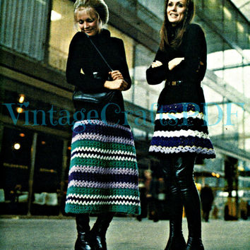 Mini Skirt Midi Skirt Maxi Skirt 1960s Crochet Vintage Pattern Get THREE Lengths Easy Beginner Quick Crochet Beso Mod Boho Hippie Great Fun