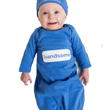 Handsome Baby Receiving Gown and Hat