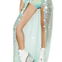 Iridescent Sequin Open Front Skirt