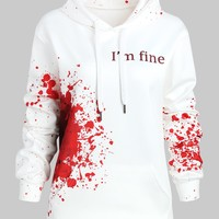 Wipalo Plus Size I'M FINE Letter Print Inspired Splatter Halloween Hoodie Blood Hoodies Sweatshirts Women Jumper Pullover 5XL