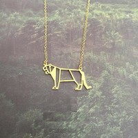 New Trendy Gold Silver Personalized Tiger Origami Necklace Animal Pendant Hunger Games Necklace Women Best Friend