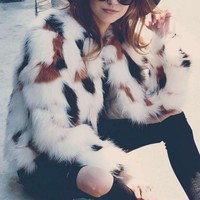 New New Women Faux Fur Coat Autumn Winter Warm Long Sleeve White Plush Coat Elegant Stylish Coat Female
