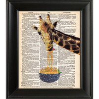GIRAFFE Art Print Eating Noodles Spaghetti Funny ORIGINAL Mixed Media Painting Illustration on Antique English Dictionary Book Page 8x10