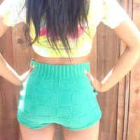Highwaisted Sweater Knit Hot Pants