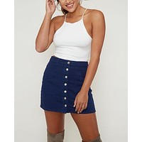 Woven Button Up Essential Denim Mini Skirt with Front Pockets in Navy