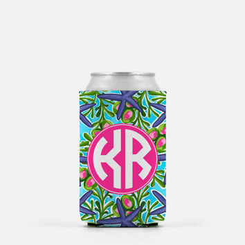 Monogram Can Cooler, Personalized Can Cooler, Beer Can Cooler