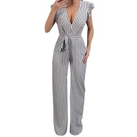 Rompers Womens Jumpsuit Summer Sleeveless Striped Halter Ruffle Sexy Jumpsuit long jumpsuits 2018 Elegant Party Corps Feminino w