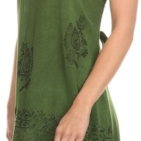 Sakkas Ameelynn Short Embroidered Batik Festival Sleeveless Spaghetti Strap Dress