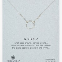 Women's Dogeared 'Reminder - Karma' Pendant Necklace - Silver Circle