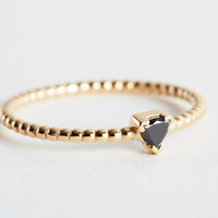 Black Diamond Trillion Gold Ring by Shahla Karimi for Of a Kind
