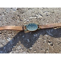 Small Sea Green Bead and Leather Cuff