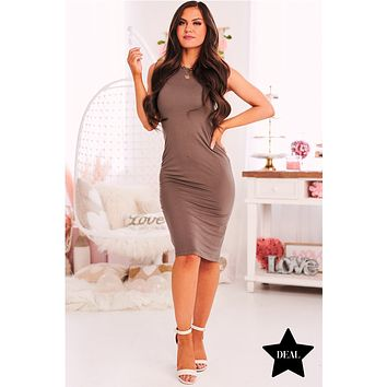 Forever Fearless Sleeveless Bodycon (Walnut)