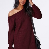 Missguided - Ayvan Off Shoulder Knitted Sweater Dress Claret
