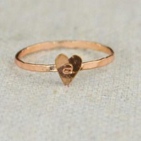 Tiny Silver Golden Rose Heart Ring